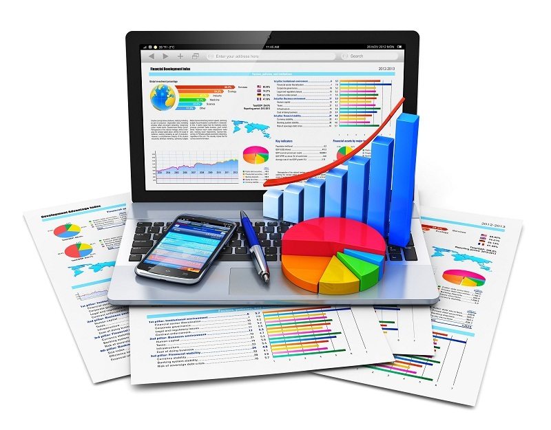 Mobile office work, stock exchange market trading, statistics accounting, development and banking business concept: laptop with stock market application, growth bar chart, pie diagram, pen and smartphone on financial reports isolated on white